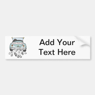 Just married car dragging cans bumper sticker