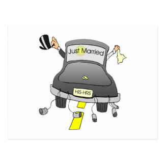 Just Married Car Postcard