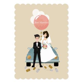 Just married car wedding invitation card.