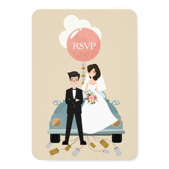 Just married car wedding Respond card. Card