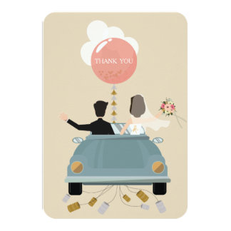 Just married car wedding Thank You card. Card