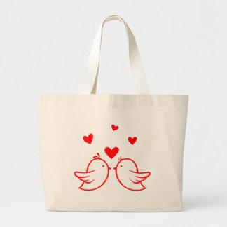 Just Married Cartoon Bride & Groom Black Wedding Large Tote Bag