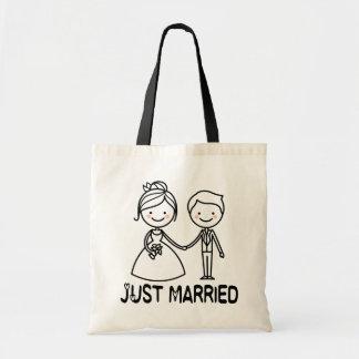 Just Married Cartoon Bride & Groom Black Wedding Tote Bag