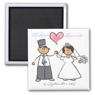Just Married! Cartoon Wedding Couple Announcement Magnet