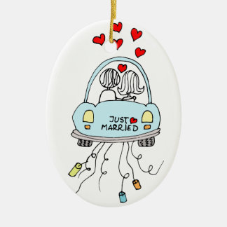 Just Married Ceramic Ornament