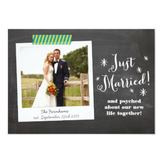 Just Married Chalkboard Wedding Announcement