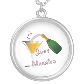 Just Married Champagne Wedding Toast Round Pendant Necklace