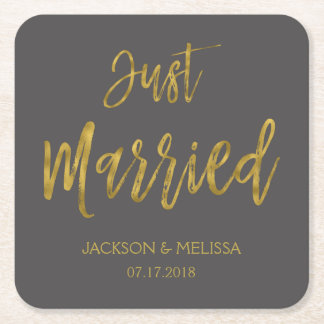 Just Married Charcoal Grey and Gold Foil Coasters