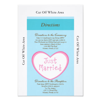 """Just Married Classic Car Wedding Directions Card 5"""" X 7"""" Invitation Card"""