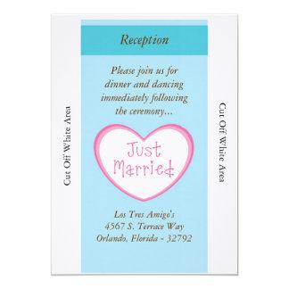 "Just Married Classic Car Wedding Reception Card 5"" X 7"" Invitation Card"