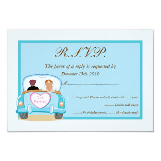 "Just Married Classic Car Wedding RSVP 3.5"" X 5"" Invitation Card"