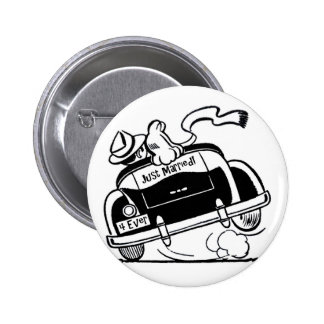Just Married Couple in Car 2 Inch Round Button