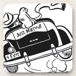 Just Married Couple in Car Beverage Coaster