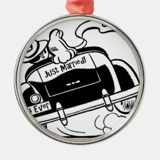 Just Married Couple in Car Silver-Colored Round Ornament
