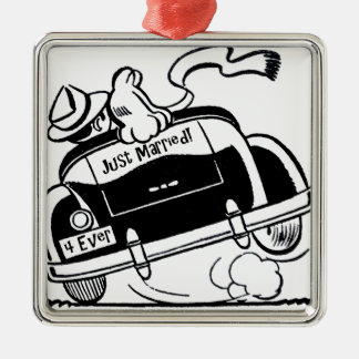 Just Married Couple in Car Silver-Colored Square Ornament