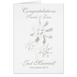 """Just Married!"" Customisable Floral Wedding Card"