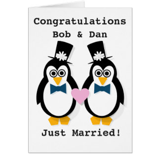 """Just Married!""  Customisable Mr & Mr Penguin Card"