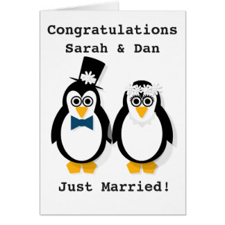 """Just Married!"" Customisable Penguin Wedding Card"
