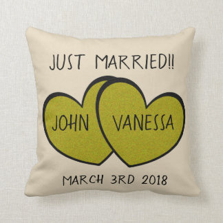 JUST MARRIED Cute Personalized Gold Hearts Couple Throw Pillow