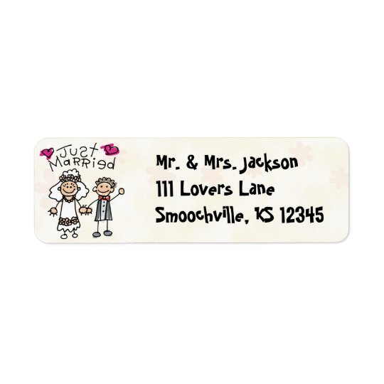Just Married Cute Return Address Labels