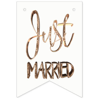 Just Married Elegant Gold Typography Wedding Party Bunting Flags