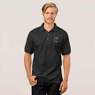 Just Married Elegant Groom Gold Typography Polo