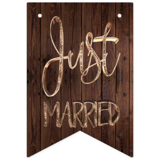 Just Married Elegant Wood Gold Typography Wedding Bunting Flags