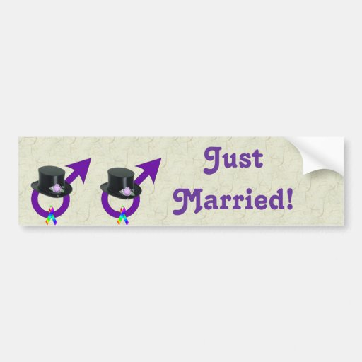 Just Married Formal Gay Male Bumper Sticker