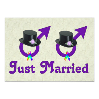 Just Married Formal Gay Male Card
