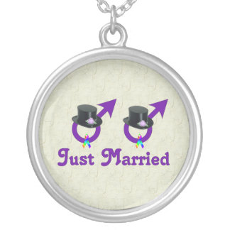 Just Married Formal Gay Male Round Pendant Necklace