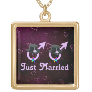 Just Married Formal Gay Male Square Pendant Necklace