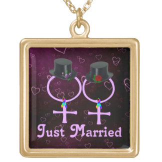Just Married Formal Lesbian Square Pendant Necklace
