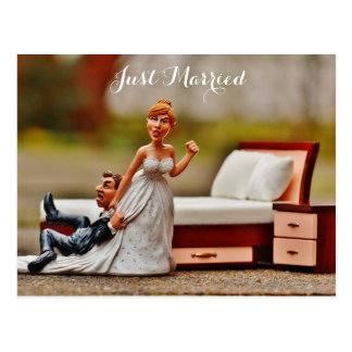 just married, funny picture postcard
