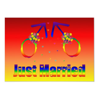 "Just Married Gay Men 5"" X 7"" Invitation Card"