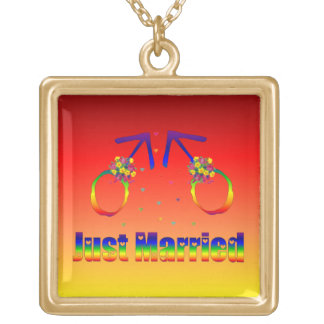 Just Married Gay Men Square Pendant Necklace