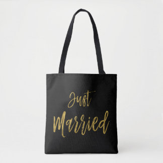 Just Married Gold Foil Bride Beach Bag