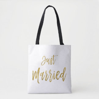Just Married Gold Foil Bride Beach Bag