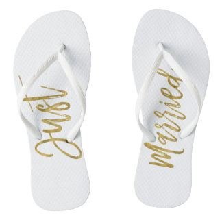 Just Married Gold Foil Bride Flip Flops