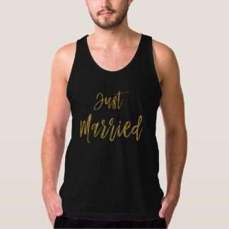Just Married Gold Foil Typography Shirt