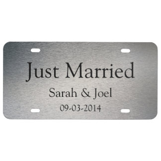 Just Married Graphic Silver Licence Plate