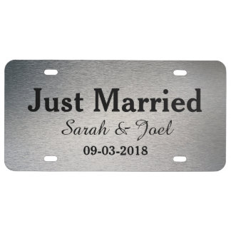 Just Married Graphic Silver License Plate