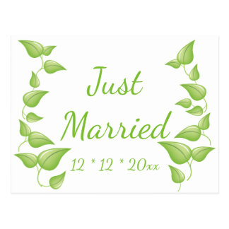 Just Married Green And White Leaf Wedding Leaves Postcard