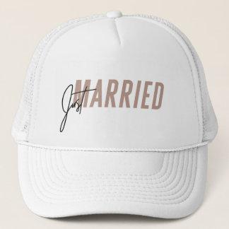 Just Married Hat | Newlywed Hat - Dark Pink