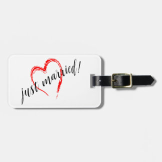 Just Married Heart Bag Tag