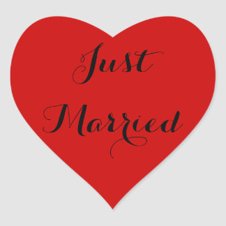 Just Married Heart Stickers