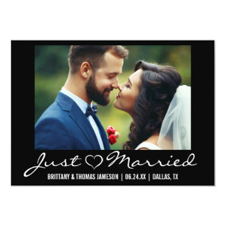 Just Married Heart Wedding Photo Announcement