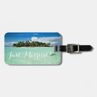 Just married honeymoon island travel luggage tag