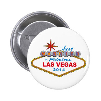 Just Married In Fabulous Las Vegas 2014 (Sign) 2 Inch Round Button