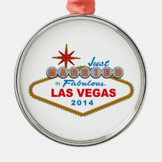 Just Married In Fabulous Las Vegas 2014 (Sign) Metal Ornament