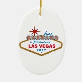 Just Married In Fabulous Las Vegas 2017 (Sign) Ceramic Ornament